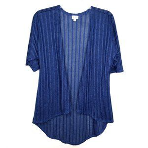 Lularoe Lindsay Cardigan Kimono Small Blue Crochet